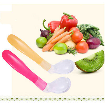 Non-Toxic Baby Feeding Spoon Soft Silicone Bent Spoon Kids Learning Tableware UK