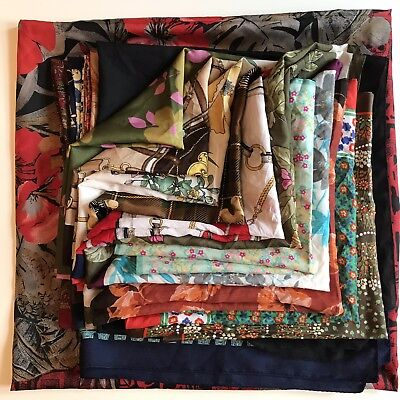Wholesale Vintage Scarf JOB LOT 20 Mixed Fabrics Crafting  £15 + *Free Delivery*
