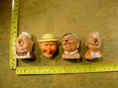 4 x excavated vintage doll head for liqueur bottle stoper Germany age 1890 B 12