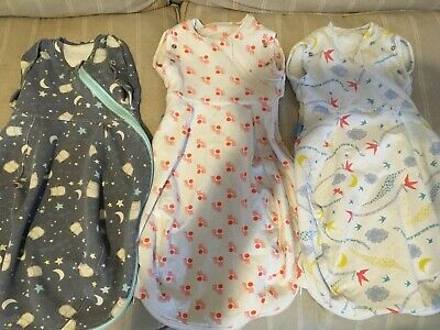 Gro Snug Cosy Set Of Three 0-3 Month Gro bags/ Swaddle Bags