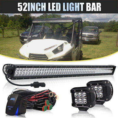 """700W 52inch LED Light Bar Flood Spot + 4"""" Pods Truck Roof Driving SUV Offroad"""