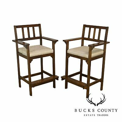 Mission Oak Arts & Crafts Style Pair of Billiards Chairs