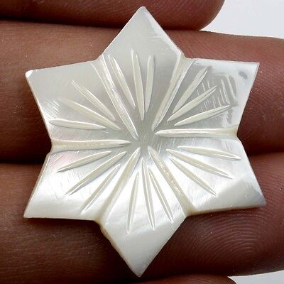 Real WHITE MOTHER OF PEARL Flower Carving 18.0 Cts Gemstone 31x31mm S22215