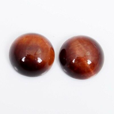 Natural RED TIGER EYE Round Cabochon  1 Pair 7.50 Cts Gemstone 10x10 mm S-34078
