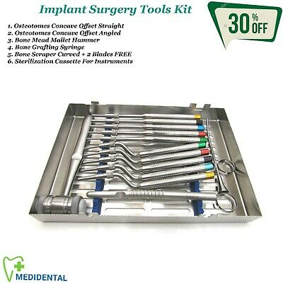 Osteotomes Offset Sinus Lift instruments Mallet Dental Implants Bone Surgery Kit