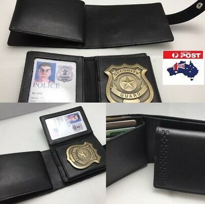 Leather Wallet With Removable ID / Badge Holder, Police / Security, In Black