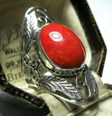 Vintage Style Large Sterling Silver Sponge Coral Gem Statement Big Ring P 7.5