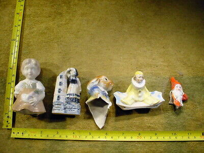 5 x excavated vintage painted damaged doll parts Germany Hertwig age 1890 B 46