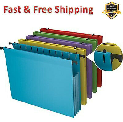 Hanging File Pockets Poly Expanding Letter Assorted Water Resistant 5/Pack New