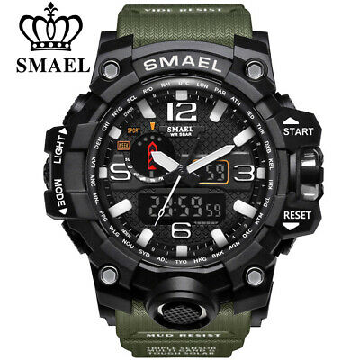SMAEL  Men Sports Watches Dual Display Analog Digital LED Electronic Quartz W...