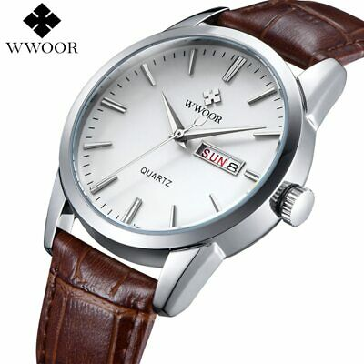 Luxury Men's Watch Date Day Genuine Leather Strap Sport Watches  Casual Quart...