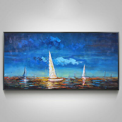 """VV743 Large Modern Abstract Hand-painted oil painting Sailing boat 24""""x48"""""""