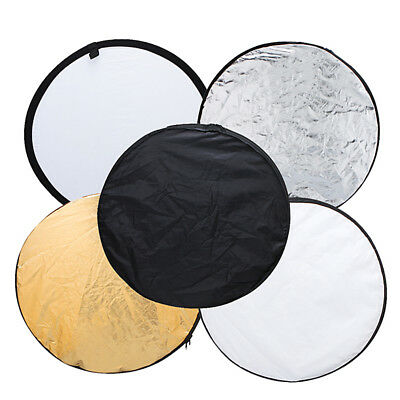"5 in 1 24"" Photography Photo Reflector Light Collapsible Portable Reflectors UK"