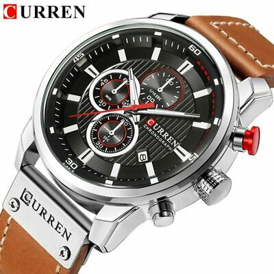 Watches Men Luxury  CURREN Chronograph Men Sports Watches Leather Quartz Wris...