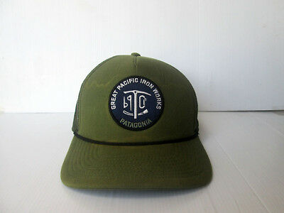 Patagonia GREAT PACIFIC IRON WORKS Trucker Hat Cap Olive Green Circle Logo 9682fd78040
