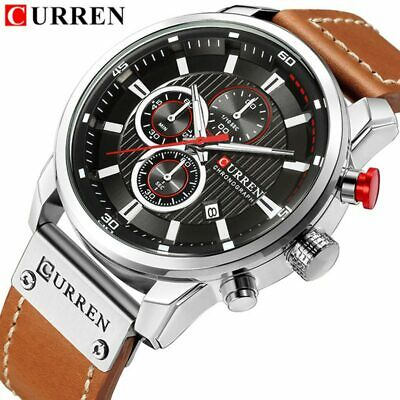 Watches Men Luxury  CURREN Chronograph Men Sport Watches High Quality Leather...