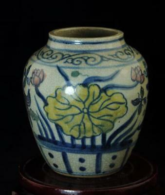 chinese old hand-made pastel porcelain hand painted lotus&goldfish pot b02