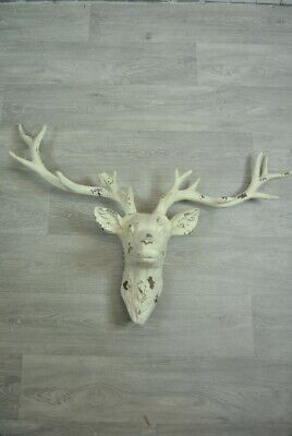 Stags Head Wall Art Decor With Antlers Large Rustic Cream Distressed