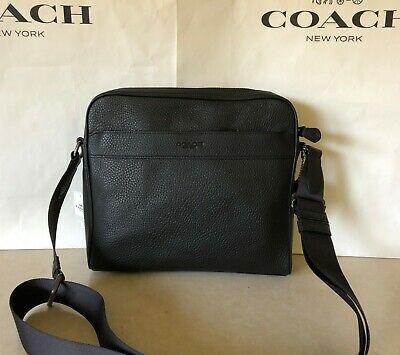 9ca3058bd7e7 NWT Coach F24876 Men s Charles Camera Crossbody Bag In Black Pebble Leather