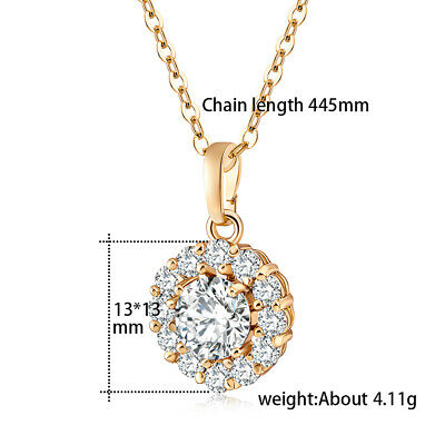 Gorgeous Crystal Circular Pendant Yellow Gold Filled Womens Necklace