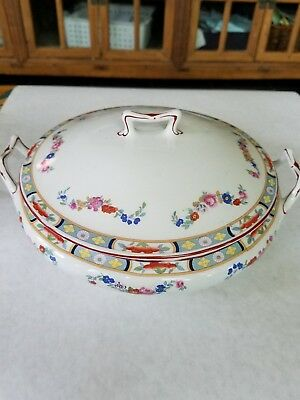 J & G Meakin Richmond White Floral Swag Sol Backstamp Round Covered Dish