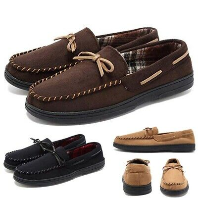 Men's Cotton Warm Flat Loafers Casual Winter Home Slippers Outdoor Driving Shoes