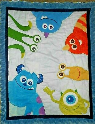 Disney Baby Monsters Inc Comforter Blanket Crib Toddler Bed Mike Sulley Blue