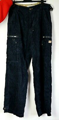 1990s 90s Sypher Cord Cargo Trousers Grunge y2k 00s Retro 34