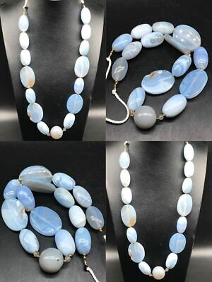 Wonderful Collected Rare Persian Blue Lazed Agate Old Antique Strand  #SR504
