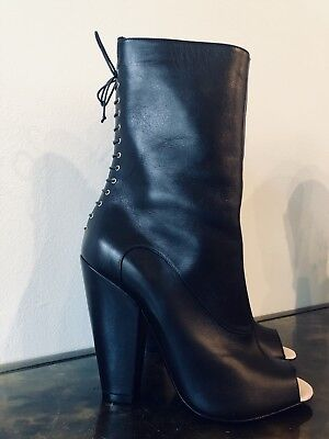0e4e316120 GIVENCHY New Authentic Black Leather Peep-Toe Heel Boots Booties Size 7