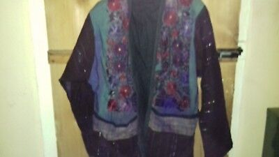 Vintage Purple Embroidered Jacket - Boho Hippy - 100% Cotton Made In Guatemala