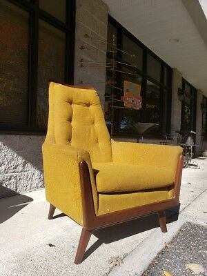 Retro Mid-Century Modern Yellow Arm Lounge High Back Vintage Chair by Rowe