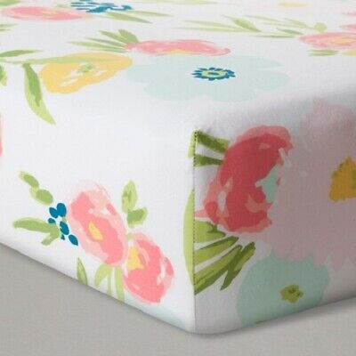 100% Cotton Fitted Crib Sheet - Cloud Island Floral Fields NWT