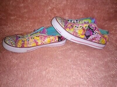 Skechers TWINKLE TOES Girls Sneakers Size 2 Sparkle Purple Pink Bling Rose charm