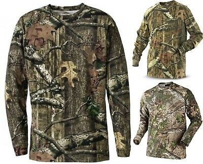 Mens Camouflage Camo Long Sleeve T Shirt Hunter Real Tree Jungle Forest Print s