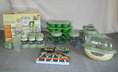 Magic Baby Bullet Set Baby Food Making Blender Steamer Storage Cups Containers