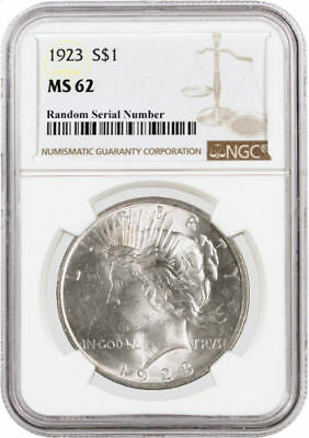 1923 American Silver Peace Dollar NGC MS62