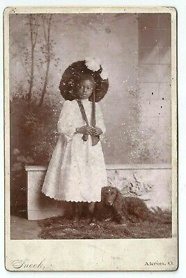 Antique Cabinet Card of an African American Girl in Dress & Her Dog by Snook