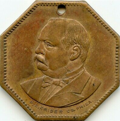 Grover Cleveland Red Bandanna Campaign Medalet, 1888. RARE