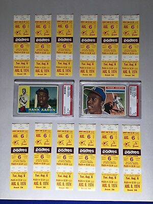 Hank Aaron Home Run Ticket HR #727 and #728 August 6 1974 Pick One