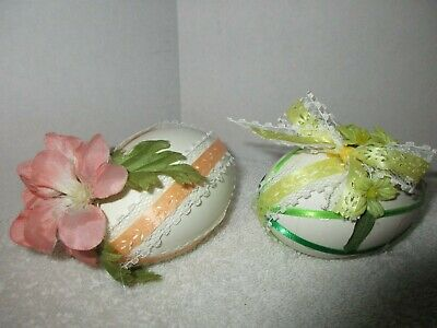 2 Vintage Decorated Diorama Easter Egg Shells Holiday Decorations