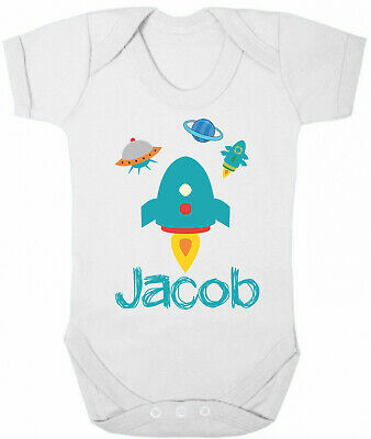 Personalised BABY GROW Boys Name Space ROCKET Funny Bodysuit Baby Shower Gift