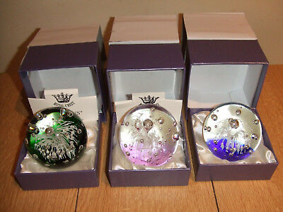 Three Boxed Royal Crest Paperweights
