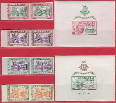 Guinea,  New York Fair 1965  Imperf. pairs & Souv. Sheets. MNH.
