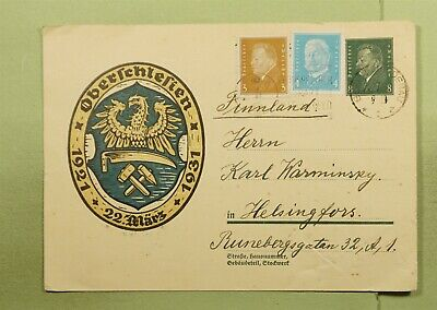 DR WHO 1931 GERMANY UPRATED POSTAL CARD UPPER SILESIA TO FINLAND d89343