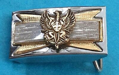 VTG Rare & Old Small Sized Japanese Ancient Eagle Silver Gold Toned Belt Buckle