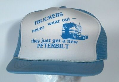 Vintage Snapback Hat Truckers Never Wear Out Peterbilt COE Cap HTF Mesh Back