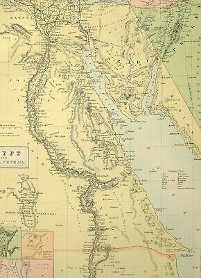 1882 Antique Map ~ Egypt Arabia Petraea Pyramids Of Ghizeh Thebes Ruins Cairo