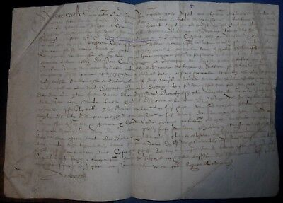 1593 ANTIQUE LEGAL DOCUMENT PARCHMENT VELLUM CALLIGRAPHY LAW MANUSCRIPT 24x35cm