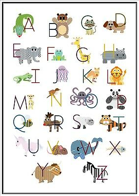 Alphabet Animals Poster A4 Print Laminated